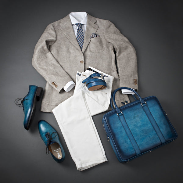 Elegant Outfit With White Trousers, Brown Jacket, White Shirt, and Hand Patina Belt and Briefcase.