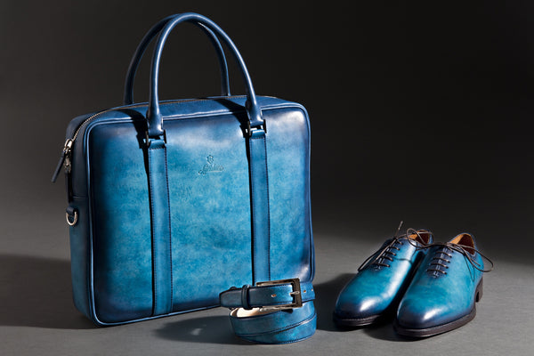 Hand Patina Shoes, Belt and Briefcase.