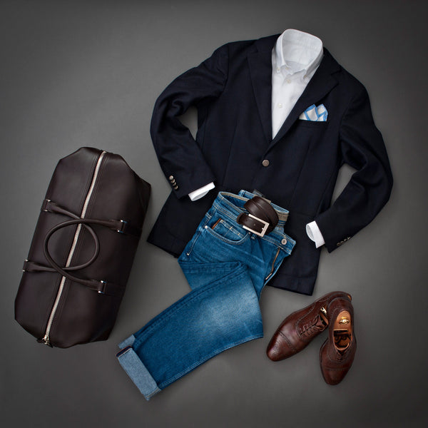 Outfit with Full Grain Aniline Leather Duffle Bag For Men.