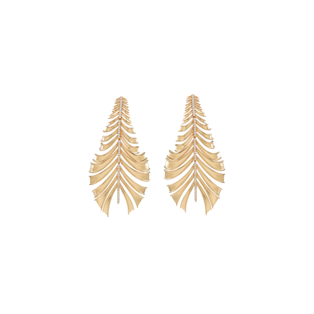 Mcristals Statement Earrings. Gold Earrings. Unique earrings. leaf earrings.
