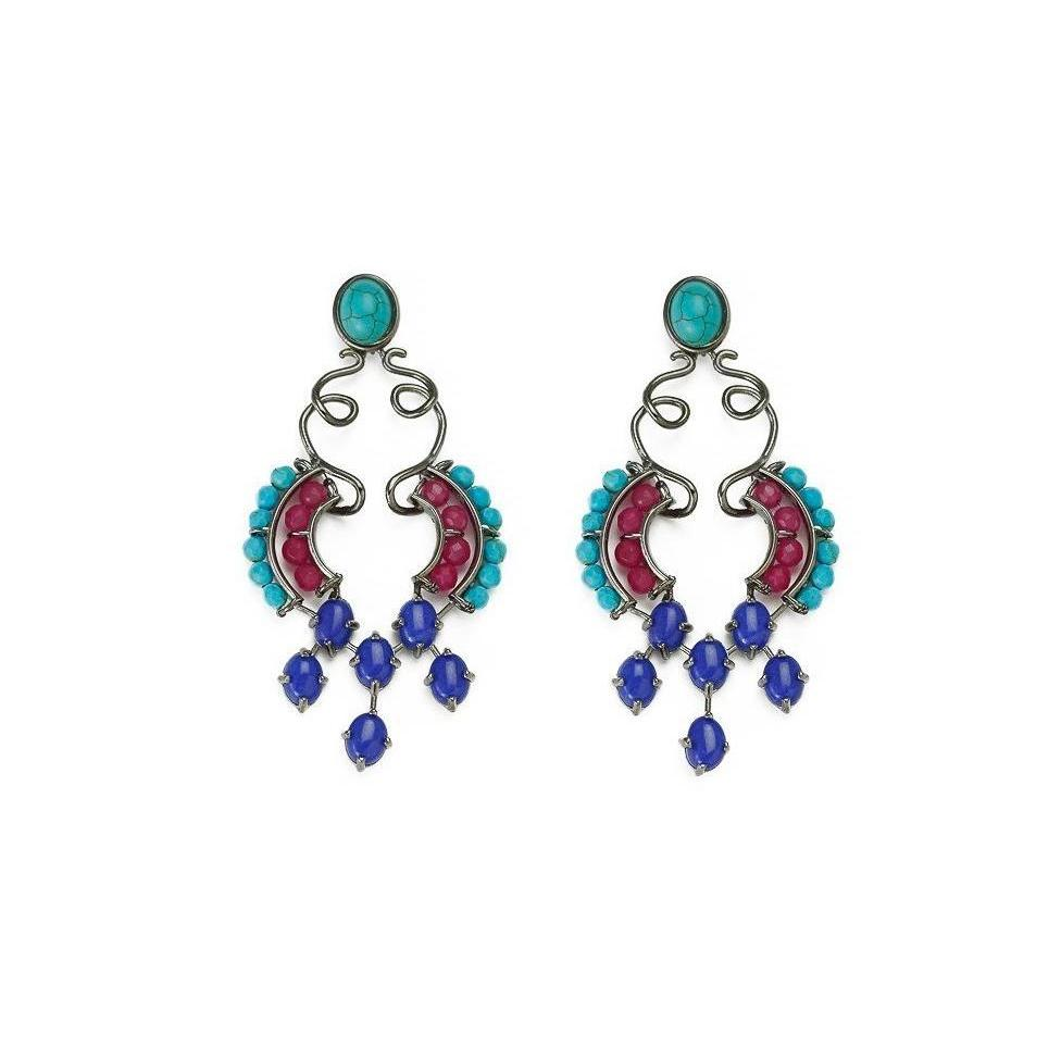Dark Rhodium Plated Earrings in a bold artsy design, crafted with turquoise, pink jade and blue jade