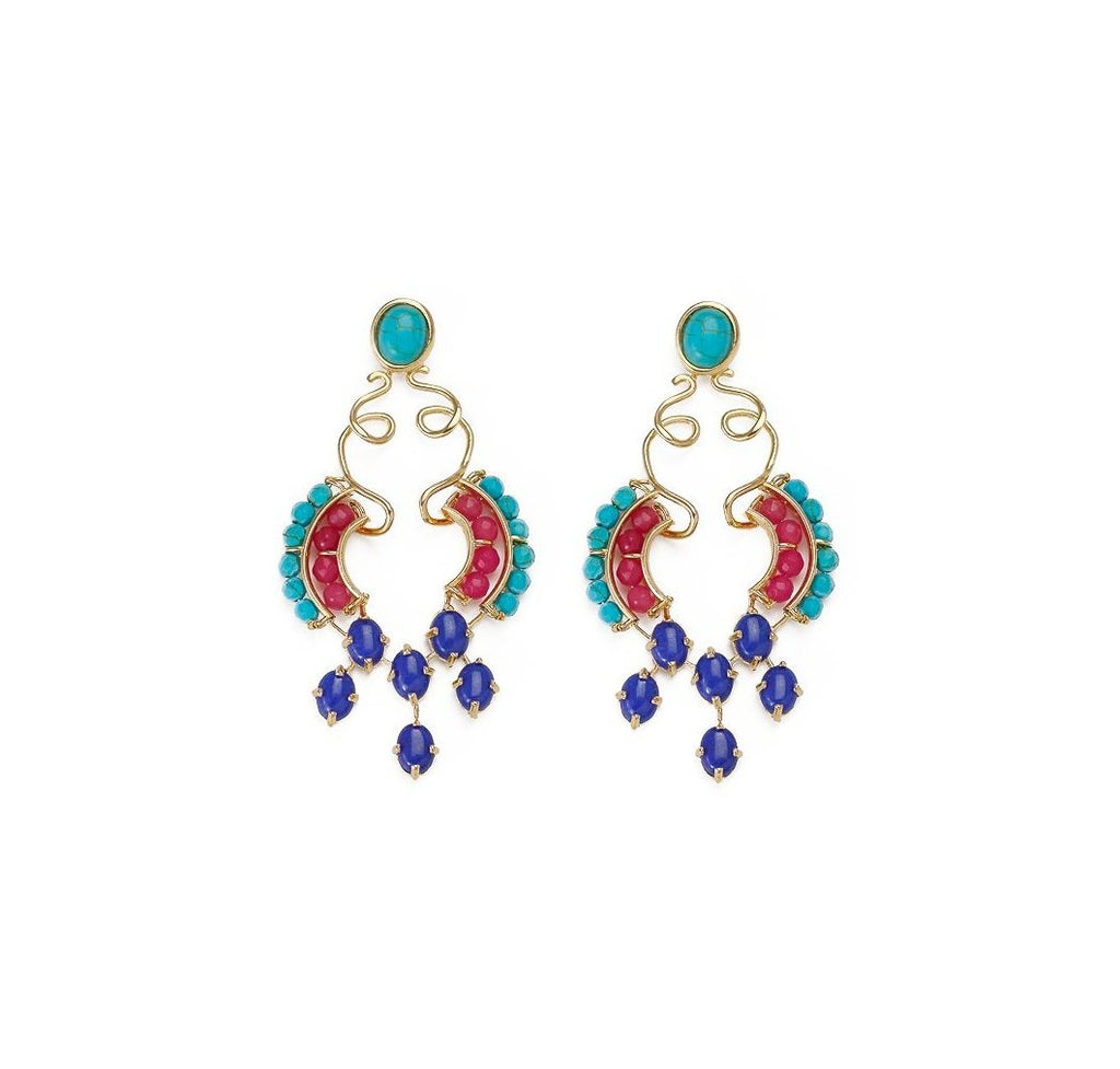 18k Gold Plated Earrings in a bold artsy design, crafted with turquoise, pink jade and blue jade