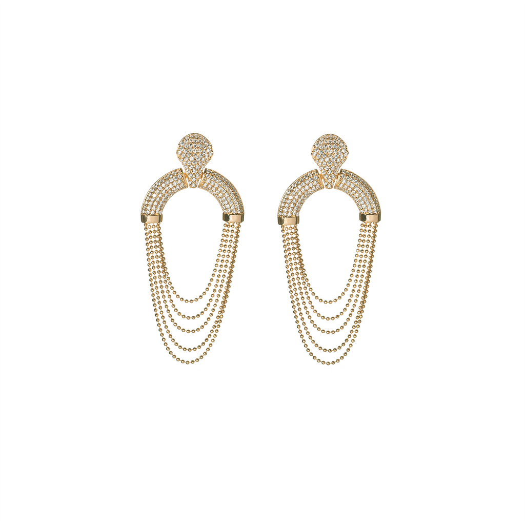 Mcristals Laureen Statement Earrings in Gold