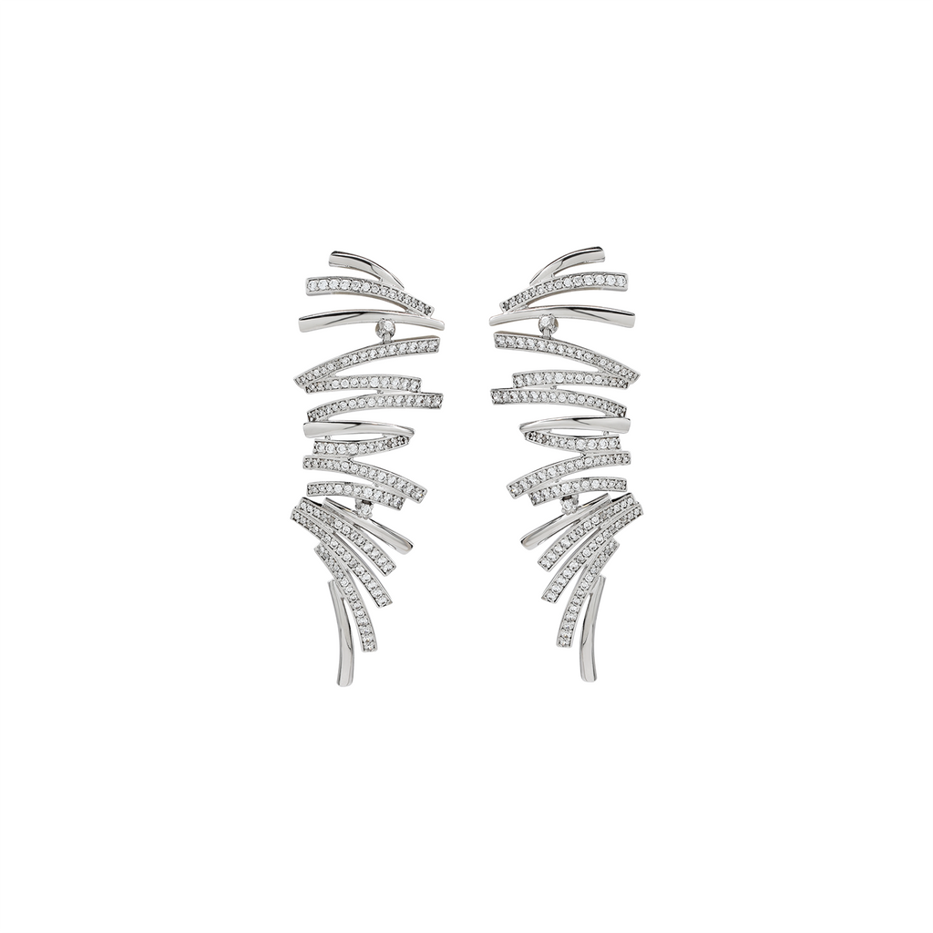 Mcristals Charlotte Earrings in White Rhodium