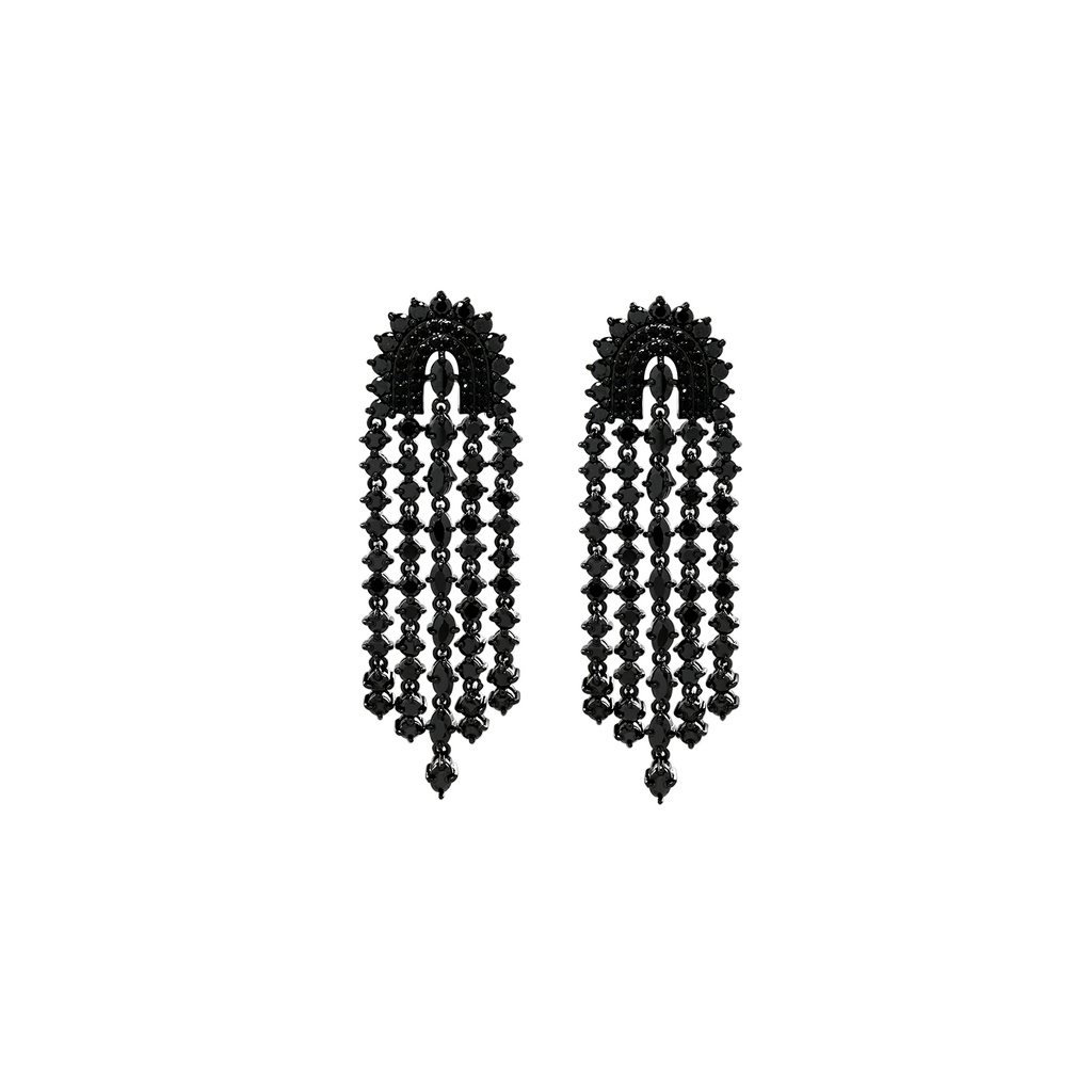 Mcristals Gabriela Statement Earrings in Black Rhodium