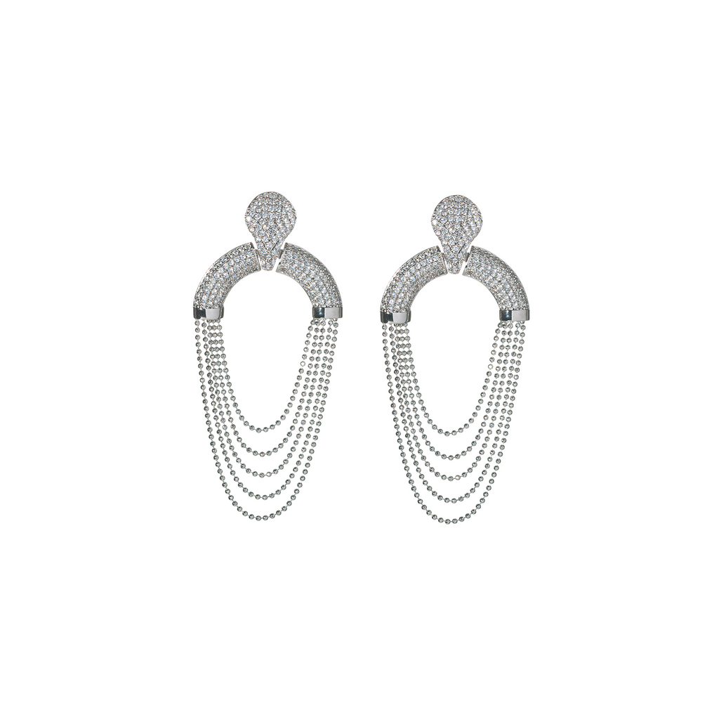 Mcristals Laureen Statement Earrings in Rhodium