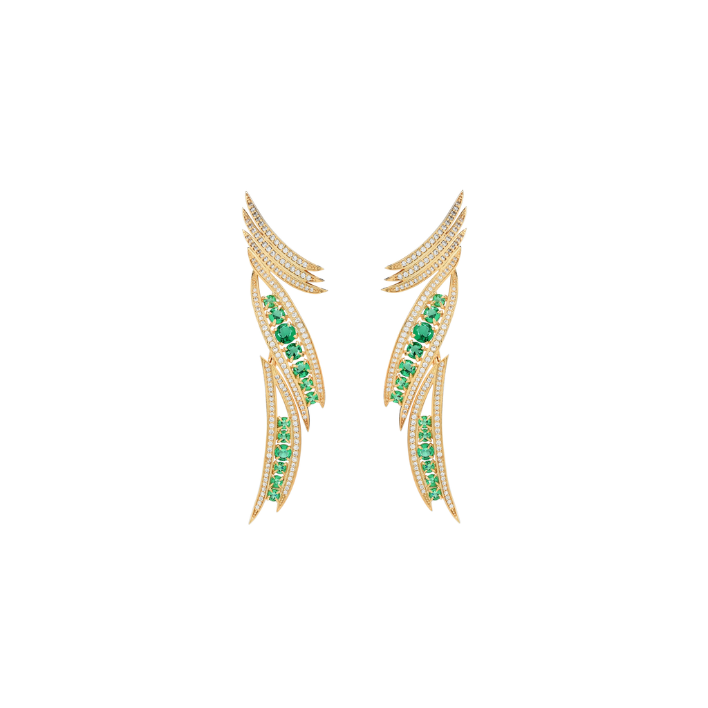 Mcristals Rachel Earrings gold and green crystals