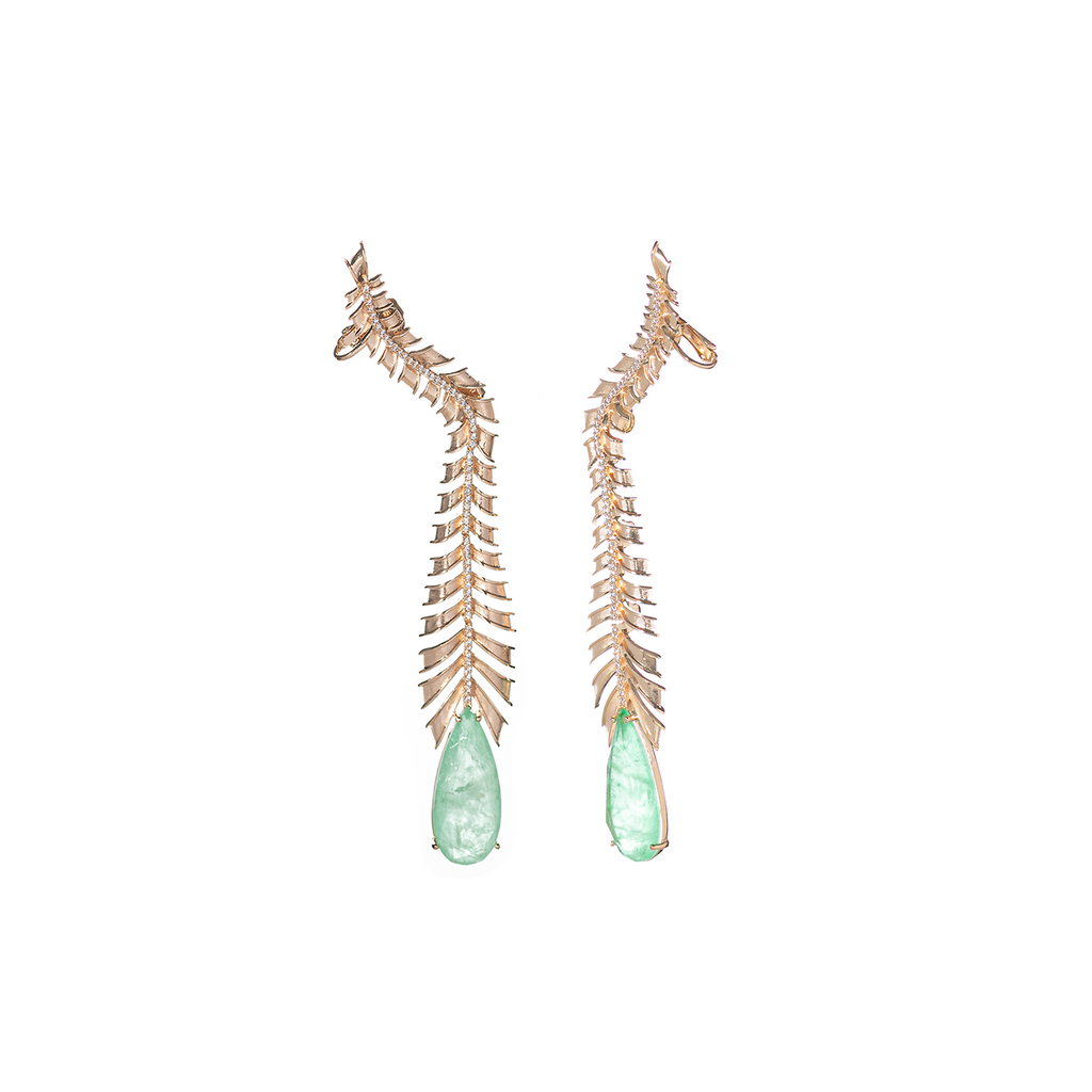 Mcristals Johanna Statement Earrings in Green