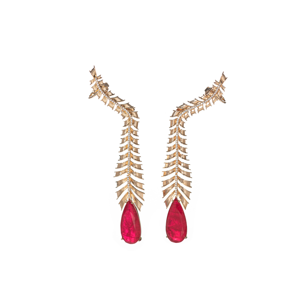 Mcristals Johanna Statement Earrings in Red