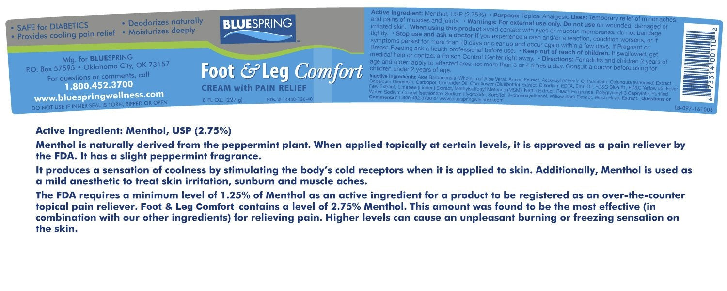 Foot & Leg Comfort Pain Relief Cream - Ingredients