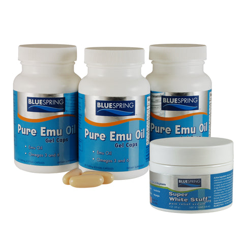 EMU-2525: Buy 2 Emu Oil Gel Caps Get 1 Free Plus 1 Free SWS 1-oz. Jar