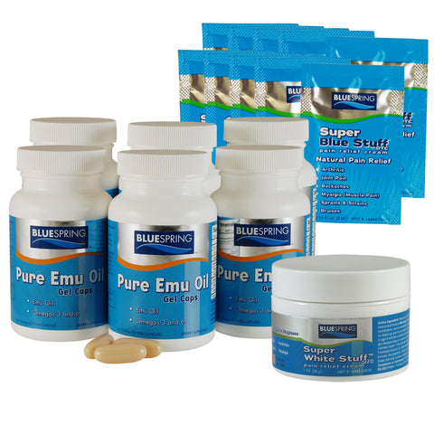 EMU-2526: Buy 3 Emu Oil Gel Caps Get 3 Free Plus 1 Free SWS 1-oz & 10 SBS Travel Packs