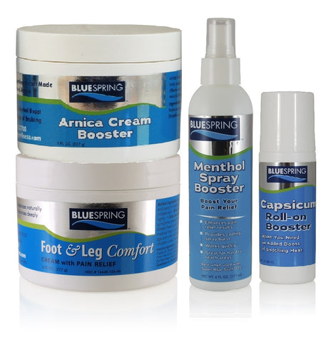 BST-3081: Buy 1 Foot and Leg Comfort 8-oz. jar Plus 1 Menthol Spray Booster, 1 Capsicum Booster, and 1 Arnica Cream Booster
