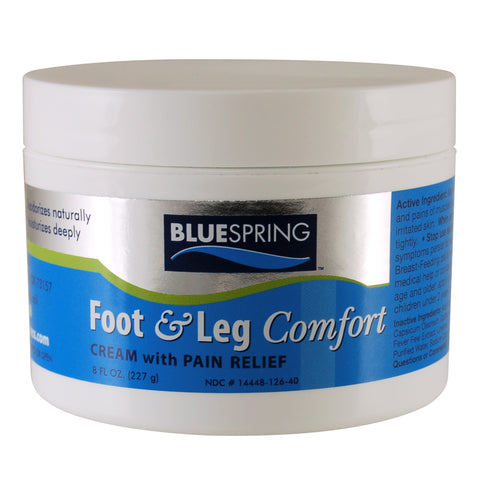 Foot & Leg Comfort Pain Relief Cream, blue spring, super blue stuff, pain relief cream, pain relief, cream, arthritis, emu oil, natural pain relief