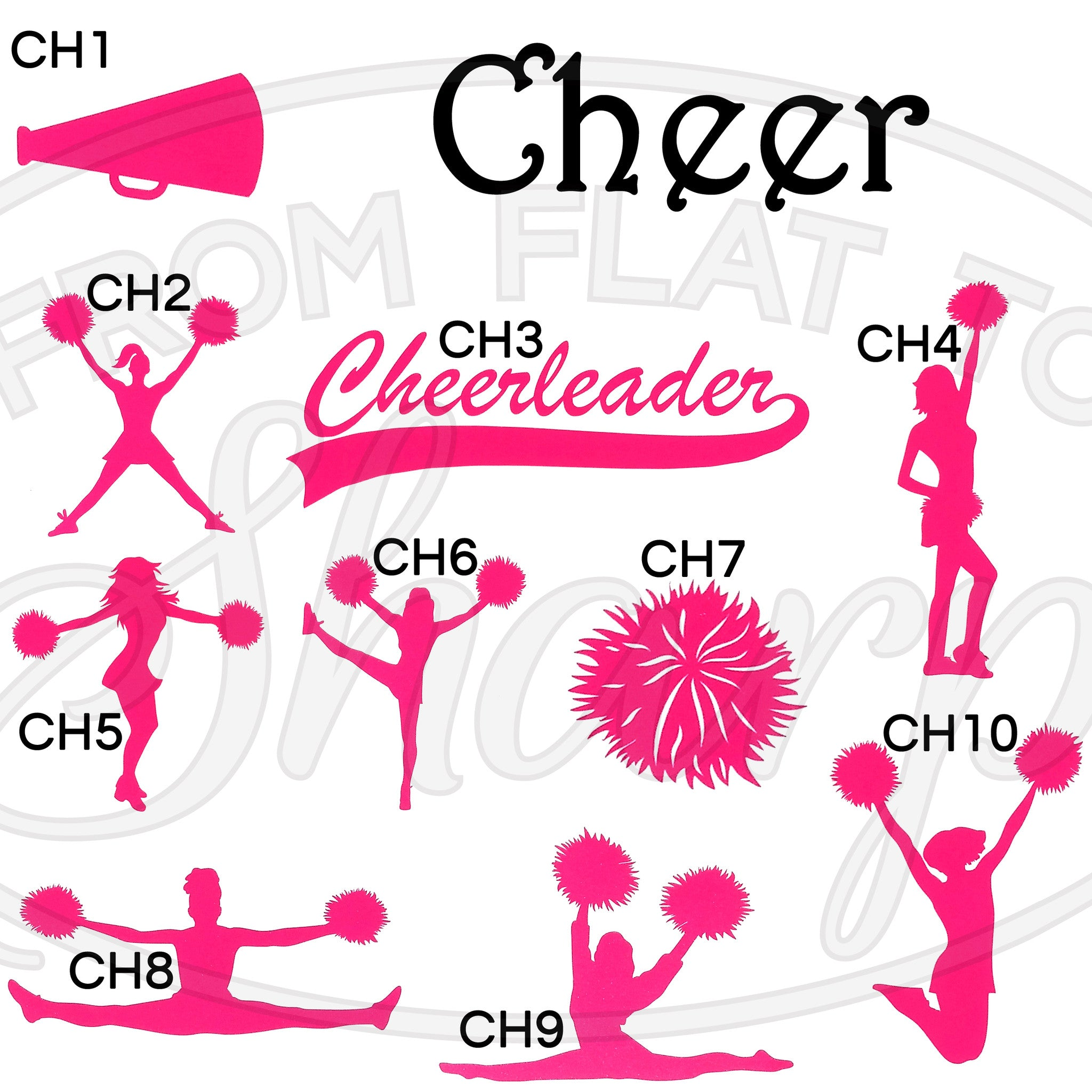 Acrylic tumbler solid color cheer decal