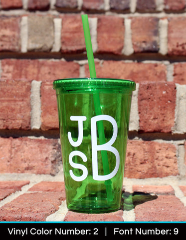 Acrylic Tumbler - Solid Color - Monogram