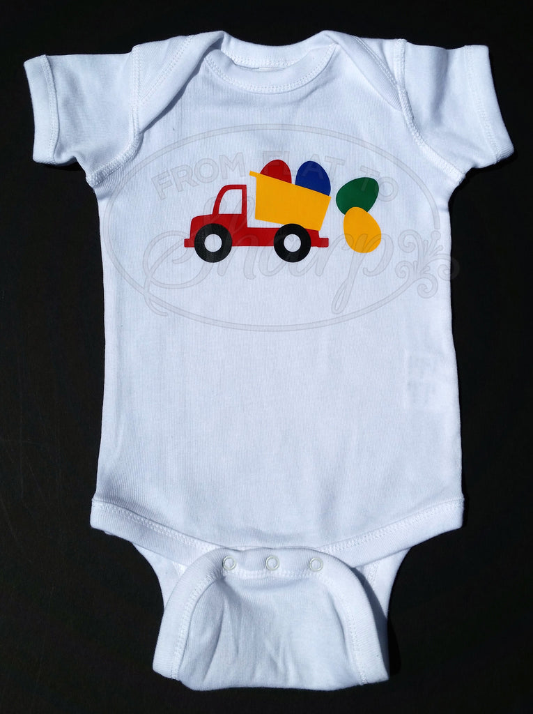 6 Month - Easter Egg Truck One Piece Baby Body Suit