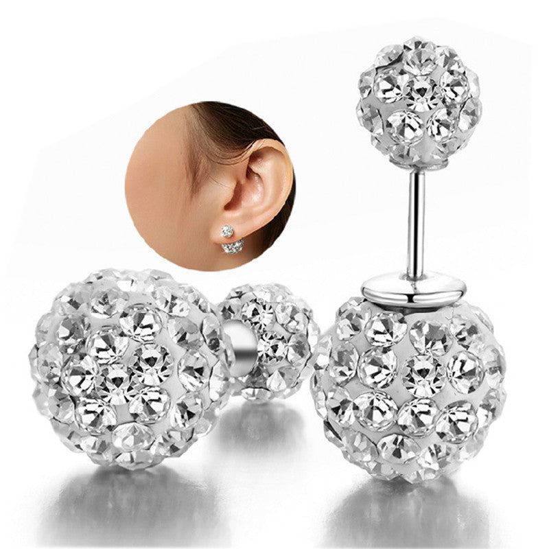 (HOT ITEM) 925 Sterling Silver Rhinestone Double Ball Crystal Studs - Thick 'N' Curvy Shop - 1