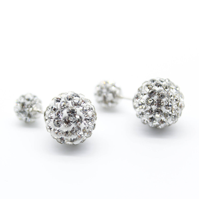 (HOT ITEM) 925 Sterling Silver Rhinestone Double Ball Crystal Studs - Thick 'N' Curvy Shop - 3
