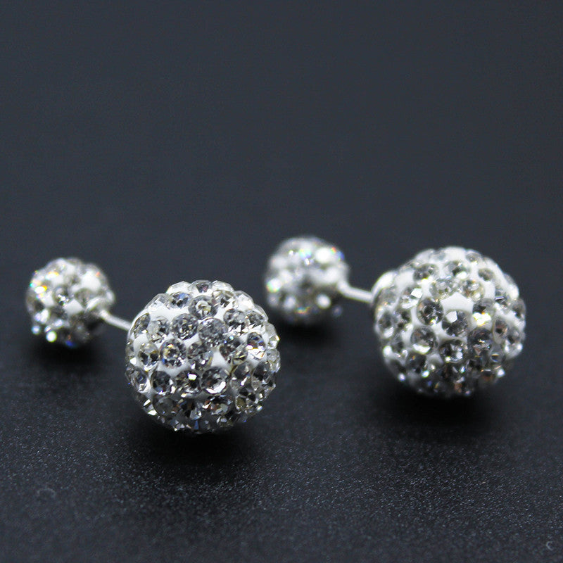 (HOT ITEM) 925 Sterling Silver Rhinestone Double Ball Crystal Studs - Thick 'N' Curvy Shop - 4