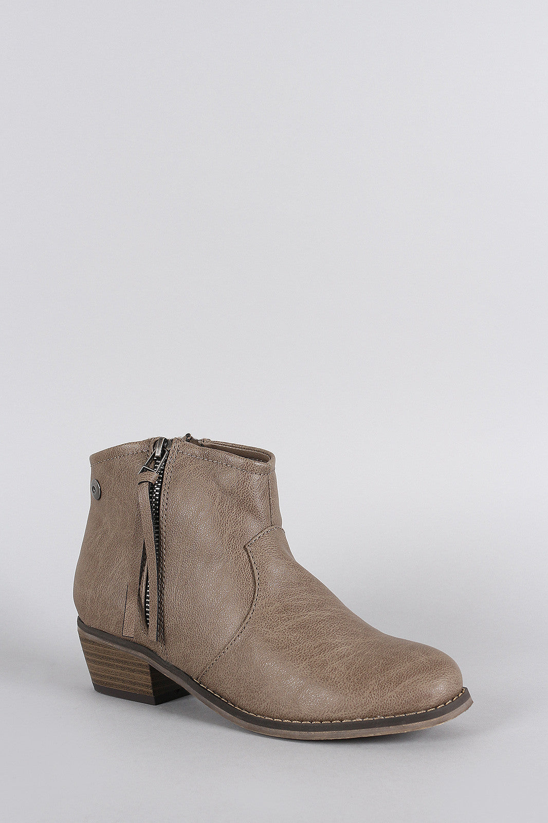 Breckelle Zipper Round Toe Cowgirl Ankle Boots