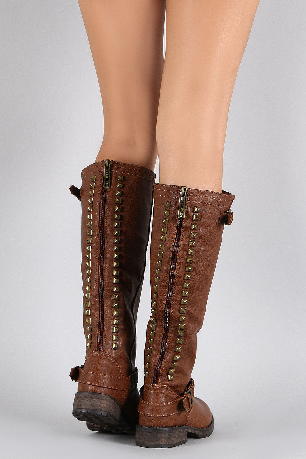 Breckelle Studded Buckle Riding Knee High Boot