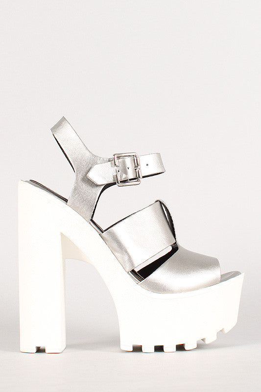 Wild Diva Pacifica-04 Metallic Lug Sole Platform Heel - Thick 'N' Curvy Shop - 1