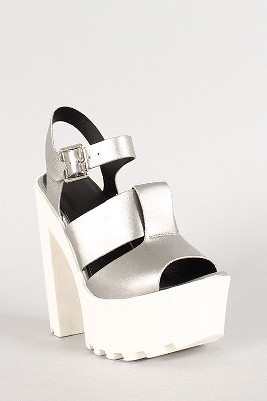 Wild Diva Pacifica-04 Metallic Lug Sole Platform Heel - Thick 'N' Curvy Shop - 3