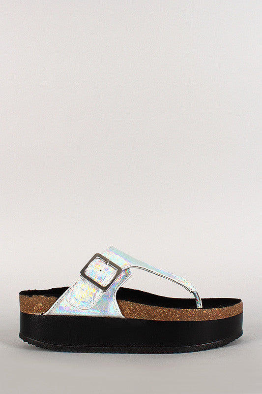 Wild Diva Lounge Iridescent Thong Open Toe Footbed Platform Flat Sandal - Thick 'N' Curvy Shop - 2