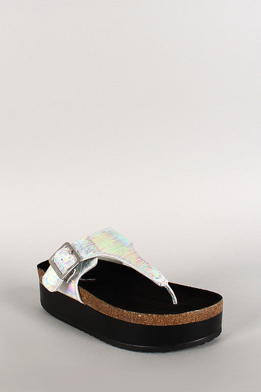Wild Diva Lounge Iridescent Thong Open Toe Footbed Platform Flat Sandal - Thick 'N' Curvy Shop - 1