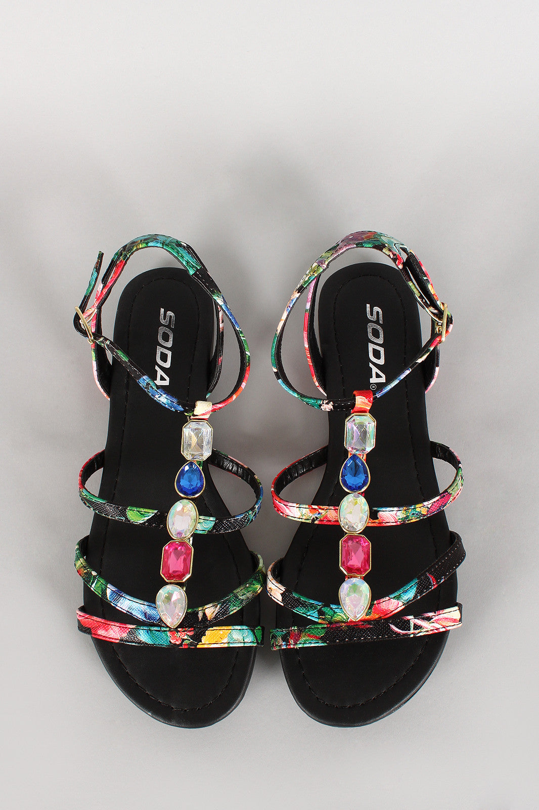 Soda Floral Jeweled Strappy Open Toe Flat Sandal - Thick 'N' Curvy Shop - 1