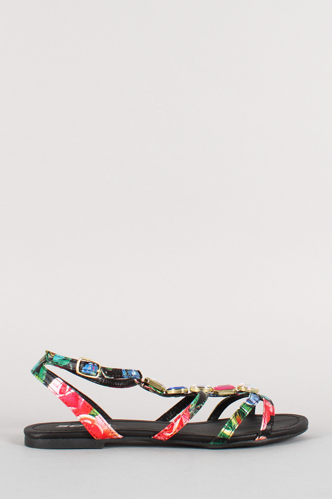 Soda Floral Jeweled Strappy Open Toe Flat Sandal - Thick 'N' Curvy Shop - 2