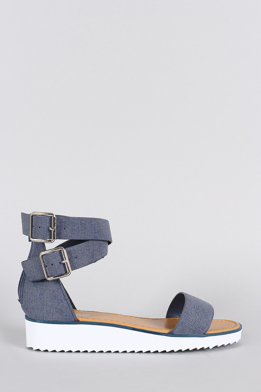 Bamboo Nubuck Ankle Straps Flatform Sandal - Thick 'N' Curvy Shop - 1