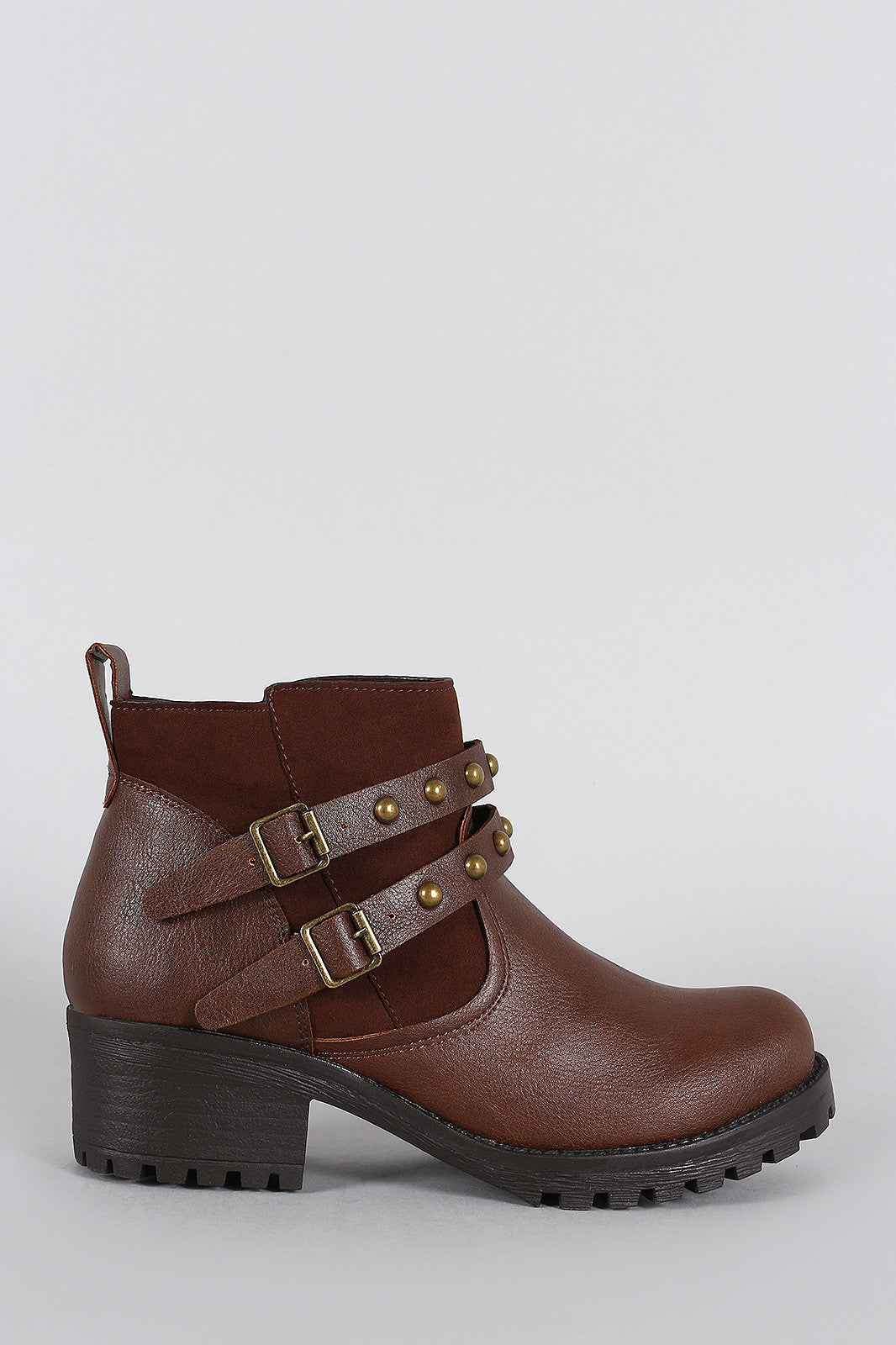 Bamboo Studded Buckle Strap Round Toe Booties - Thick 'N' Curvy Shop - 2