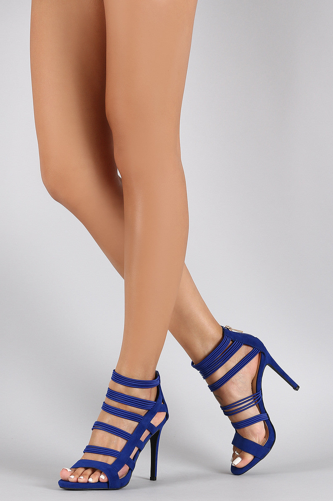 Anne Michelle Strappy Cage Cushioned Open Toe Heel - Thick 'N' Curvy Shop - 3