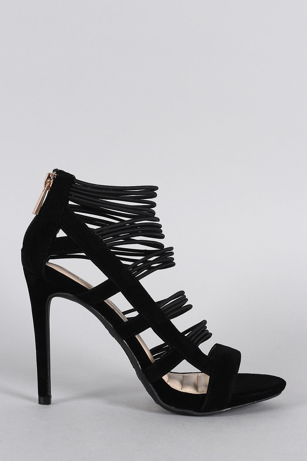Anne Michelle Strappy Cage Cushioned Open Toe Heel - Thick 'N' Curvy Shop - 4