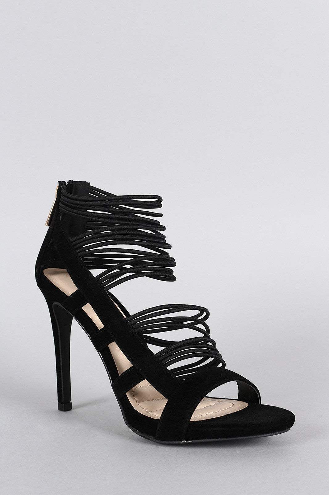 Anne Michelle Strappy Cage Cushioned Open Toe Heel - Thick 'N' Curvy Shop - 5