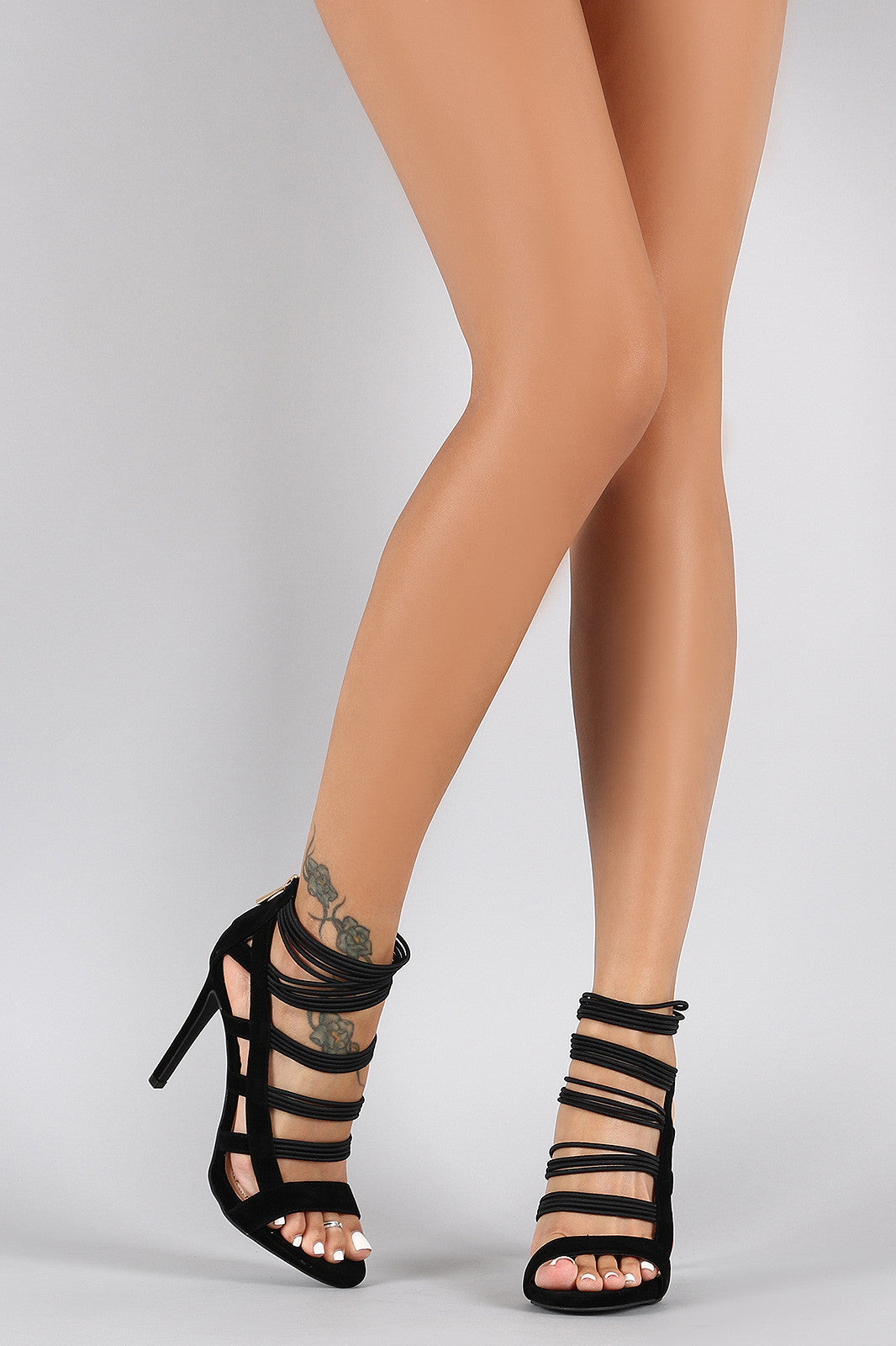 Anne Michelle Strappy Cage Cushioned Open Toe Heel - Thick 'N' Curvy Shop - 6