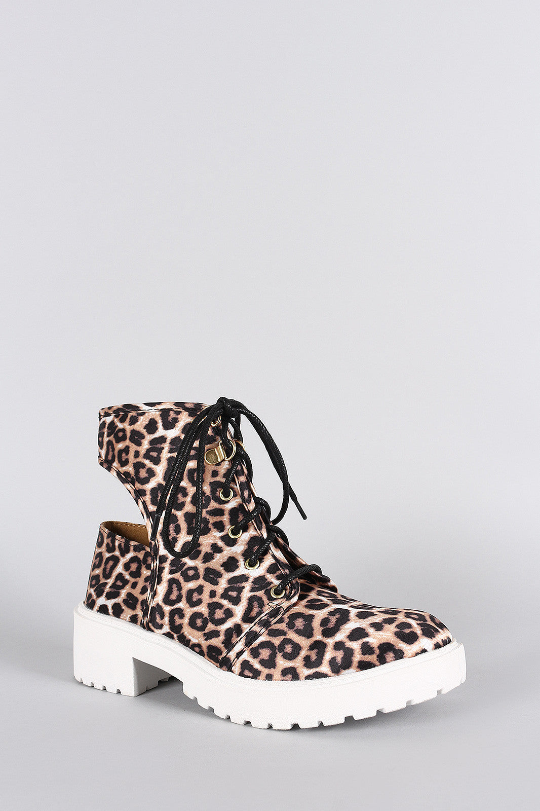 Qupid Leopard Round Toe Lace Up Cutout Booties - Thick 'N' Curvy Shop - 2