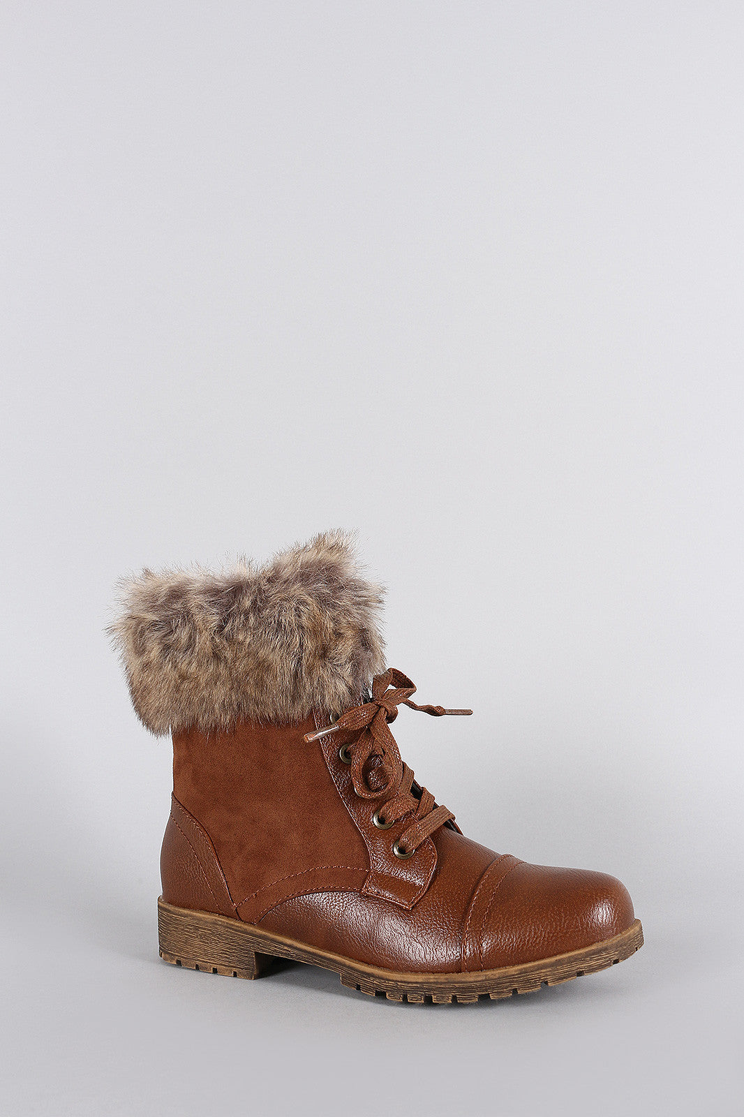Bamboo Combat Faux Fur Ankle Cuff Lug Sole Booties - Thick 'N' Curvy Shop - 2