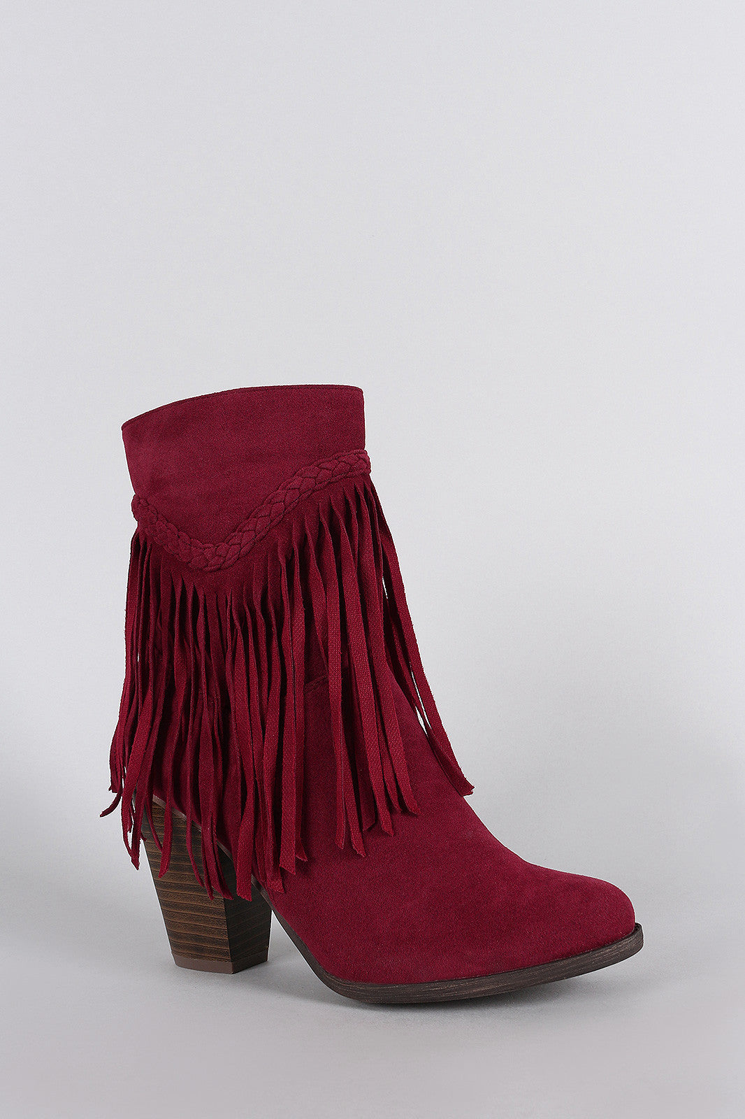 Breckelle Suede Braided Fringe Heeled Ankle Boots - Thick 'N' Curvy Shop - 2