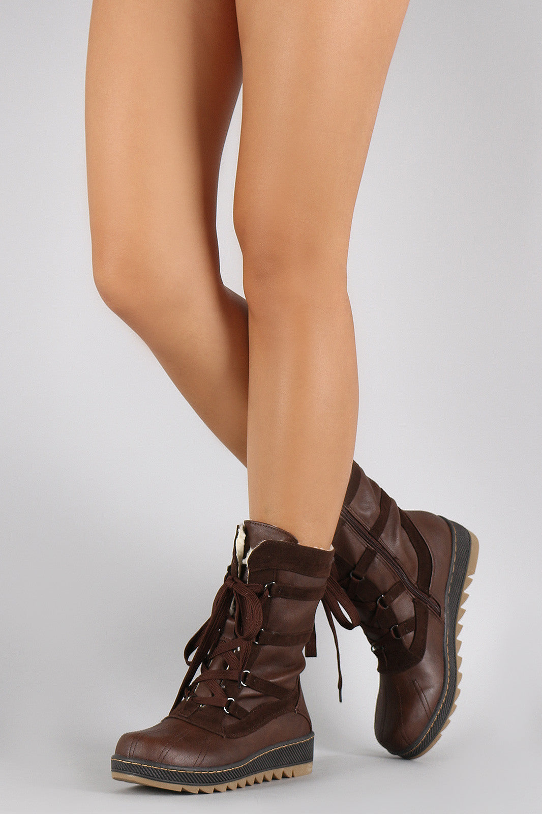 Qupid Vegan Leather-Shearling Snow Lace Up Boots - Thick 'N' Curvy Shop - 1