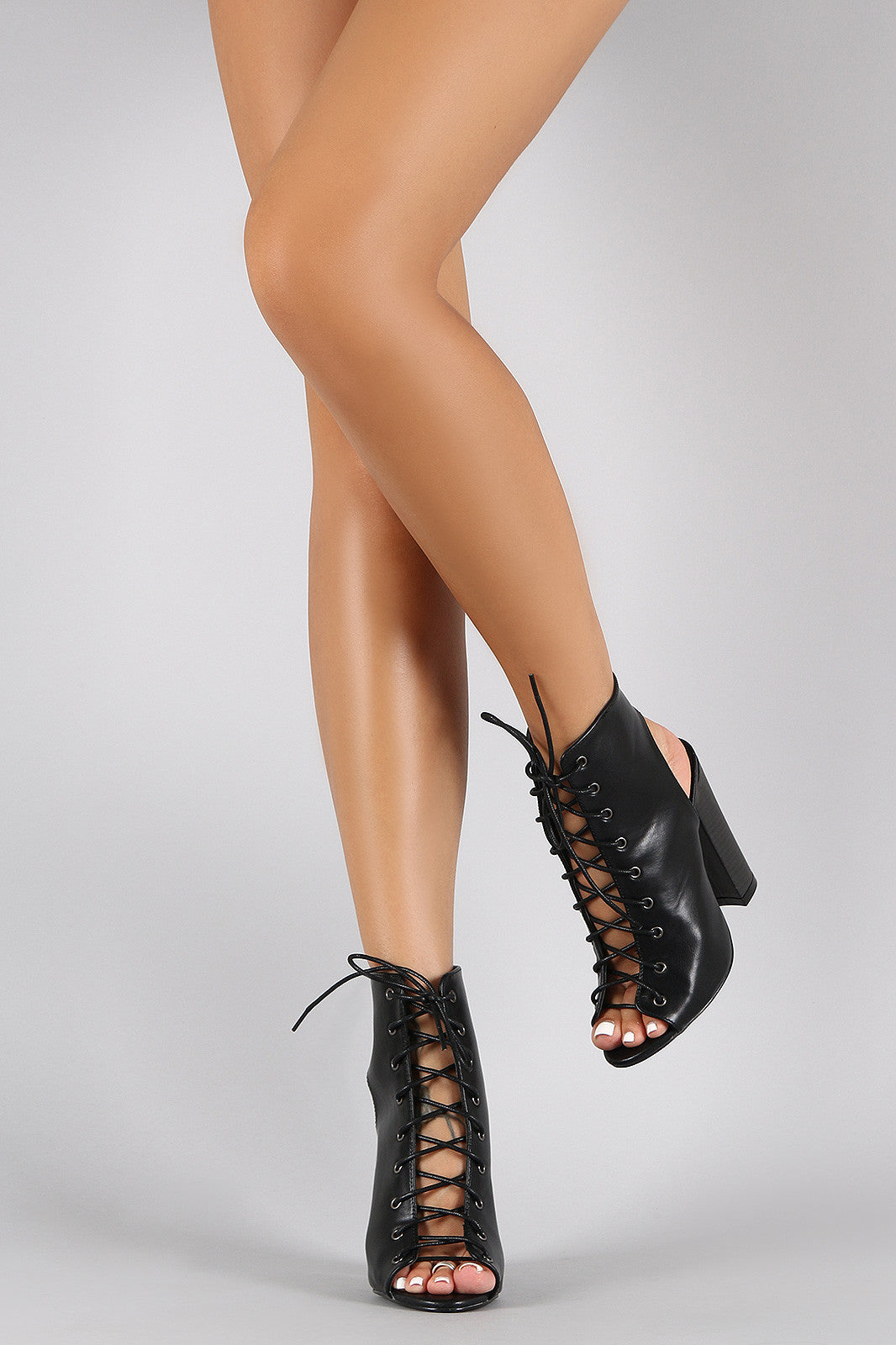 Liliana Corset Lace Up Peep Toe Mule Chunky Heel - Thick 'N' Curvy Shop - 8