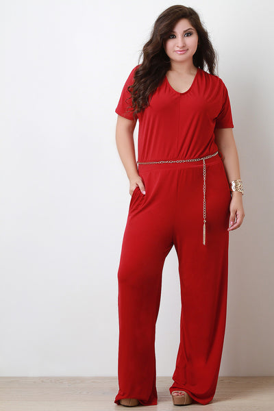 Chain Belt Straight Leg Jumpsuit - Thick 'N' Curvy Shop - 1