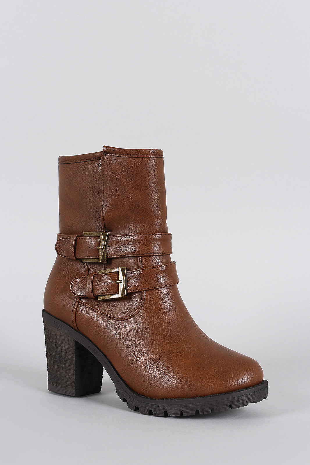 Slit Moto Lug Chunky Heel Ankle Boots - Thick 'N' Curvy Shop - 3