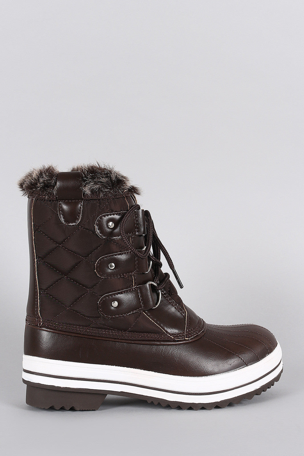 Faux Fur Cuff Lace Up Quilted Nylon Boots - Thick 'N' Curvy Shop - 1