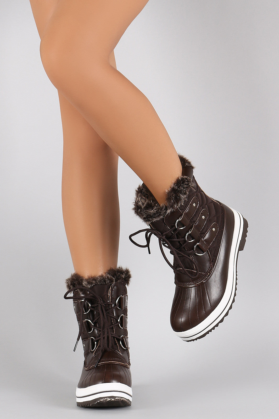 Faux Fur Cuff Lace Up Quilted Nylon Boots - Thick 'N' Curvy Shop - 3
