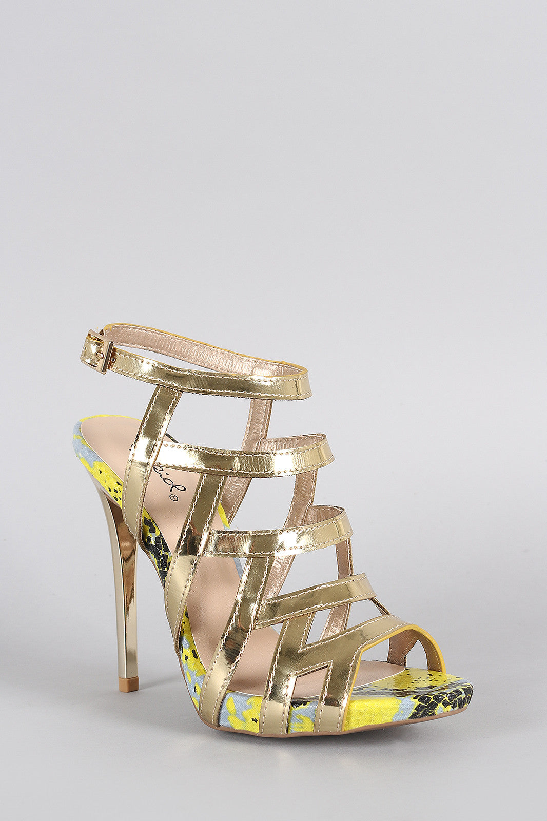 Qupid Metallic Strappy Snake Open Toe Stiletto Heel - Thick 'N' Curvy Shop - 2