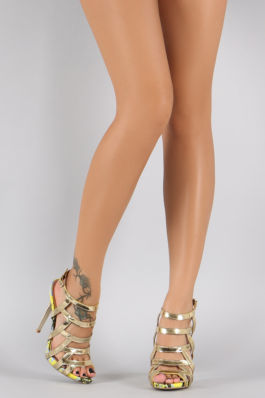 Qupid Metallic Strappy Snake Open Toe Stiletto Heel - Thick 'N' Curvy Shop - 3