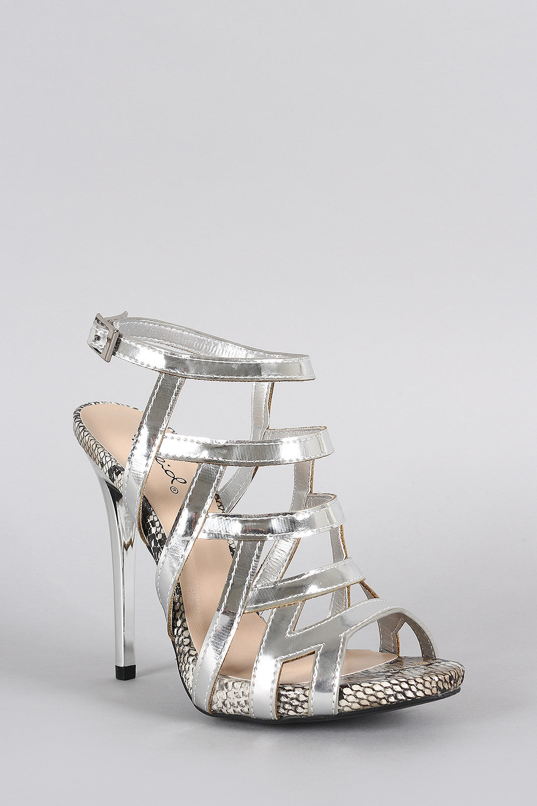 Qupid Metallic Strappy Snake Open Toe Stiletto Heel - Thick 'N' Curvy Shop - 5